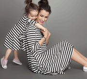 Online discount shop Australia - Family Matching Outfits Mother And Daughter Casual Fall Full sleeve black and white Striped Dress