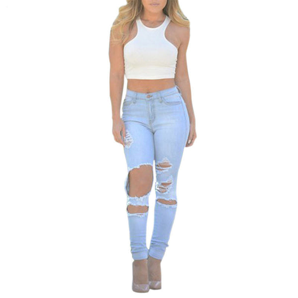 Online discount shop Australia - Casual Low Waist Full Length Women Jeans Pencil ripped jeans for women Cotton washed pocket Denim Skinny jean 036
