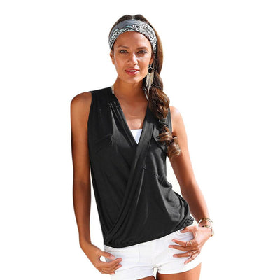 Womens Blouses Sexy Sleeveless Double Pocket Shirts V Neck Tops Casual Fashion Blouse