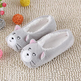 Warm Flats Soft Sole Women Indoor Floor Slippers/Shoes Animal Shape White Gray Cows Pink Flannel Home Slippers 6 Color