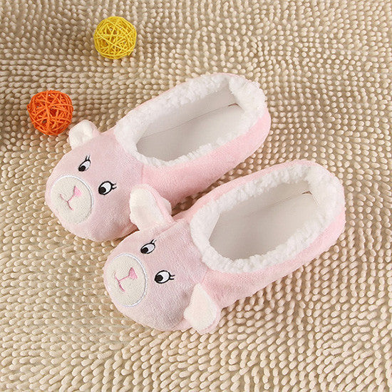 2b494fd2c Warm Flats Soft Sole Women Indoor Floor Slippers/Shoes Animal Shape White  Gray Cows Pink