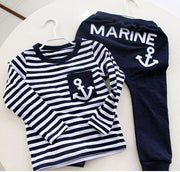 Online discount shop Australia - Kids Clothes Navy Long Sleeve Pullover Striped Sports Suit Casual Boys Clothing Set
