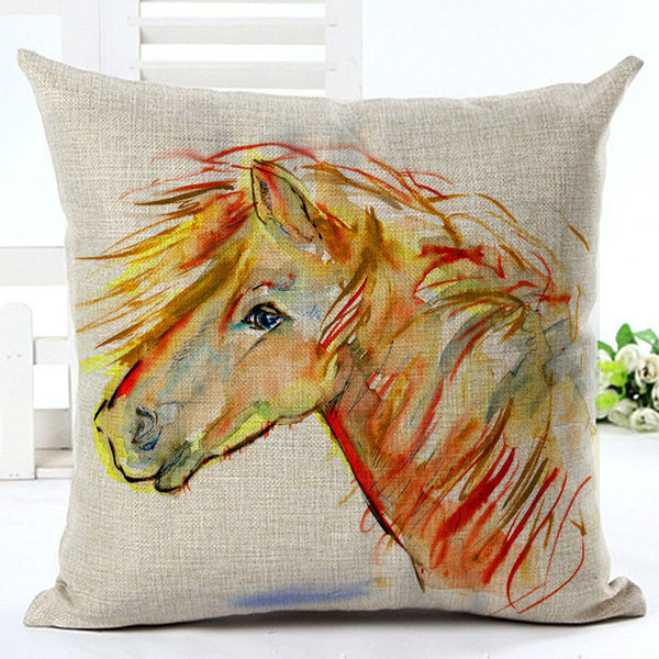 New High Quality Horse Home living Cotton linen Decorative Pillow Throw Pillow Square
