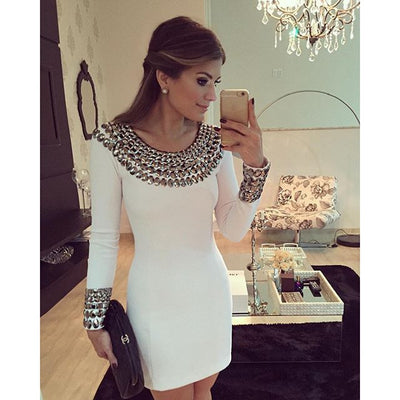 Online discount shop Australia - 2017 New autumn and winter long sleeve hand-beaded dress Slim bodycon dress white color package hip bottoming dress