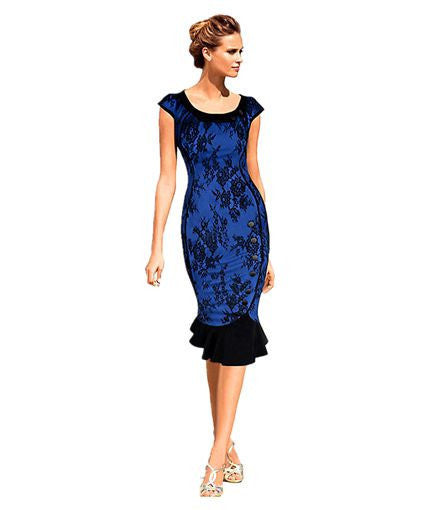 Womens Vintage Elegant Formal Lace Button Patchwork Tunic Wear To Work Party Mermaid Midi Pencil Wiggle Bodycon Dress