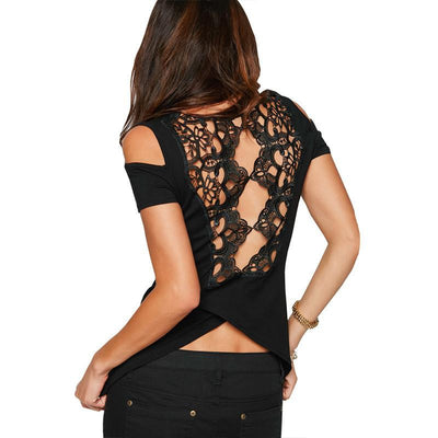 Women Hollow Out T Shirts Black Short Sleeve Off Shoulder Lace Patchwork Tops Tees