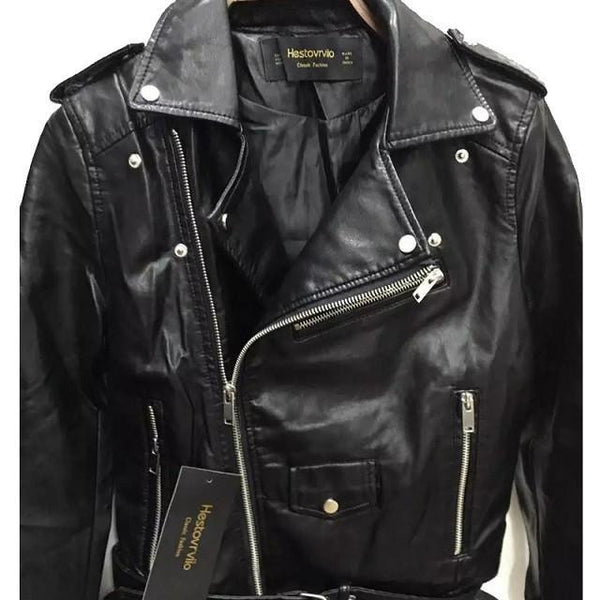 Short Jacket Zipper Fashion Faux Leather Moto Biker Womens Leather Epaulet Belt Basic Coat Women Outwear Coat