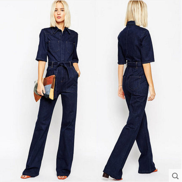 Online discount shop Australia - Denim Overalls Women Fashion Handsome lacing Slim Half Sleeve Tooling Denim jumpsuit Casual Rompers for women