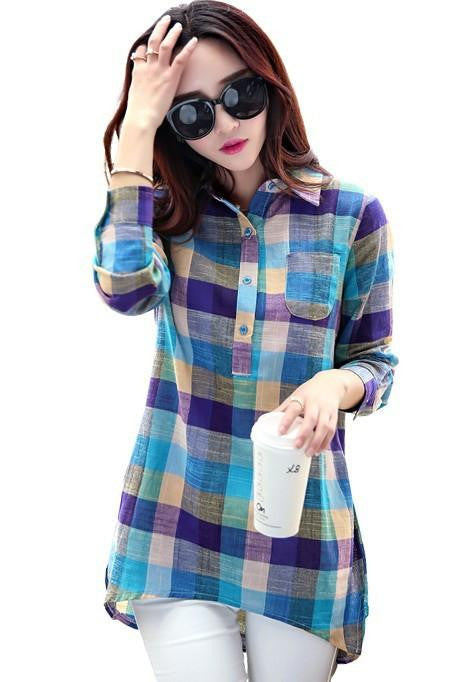 Women Shirt Korean Style New Fashion Long Sleeve Girls Shirt Casual Cotton Linen Blouses Ladies Long Sleeves Party ShirtsBlueMa