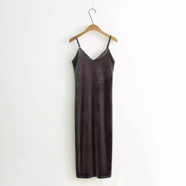 Online discount shop Australia - 2017 Women Spring Brief Style Velvet Slip Dress Side Vent Full Dress Suspender Strap Sexy One Piece Velvet Dress