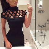 Online discount shop Australia - Elbise Christmas Dress Women Black Choker High Neck Sexy Bodycon Dress Ladies Caged Sleeves Mini Vintage Dress Kerst Jurk Dames