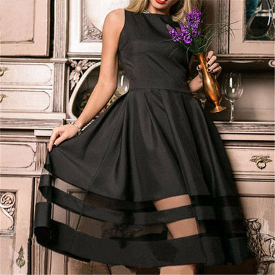 Summer Women Sleeveless Dress Sexy Vintage Mesh Patchwork Prom Maxi Dresses