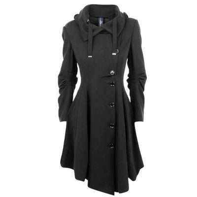 Online discount shop Australia - Asymmetric Black Coat Stand Collar Long Sleeve Women Overcoat Elegant Single-Breasted Long Sleeve Slim Fall