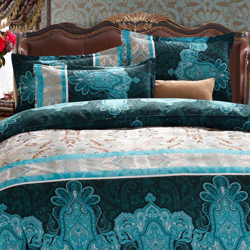 4pcs/set 3D Reactive Printed Bedding Set Bedclothes Suit Queen Size Duvet Cover+Bed Sheet+2 Pillowcases Home TextilesH154505Queena