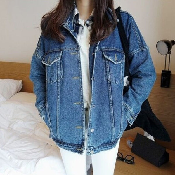 Online discount shop Australia - Denim Jacket Bf Harajuku Style Single Breasted Ladies Jean Jackets Plus Size Vintage Womens Coats Slim Fit