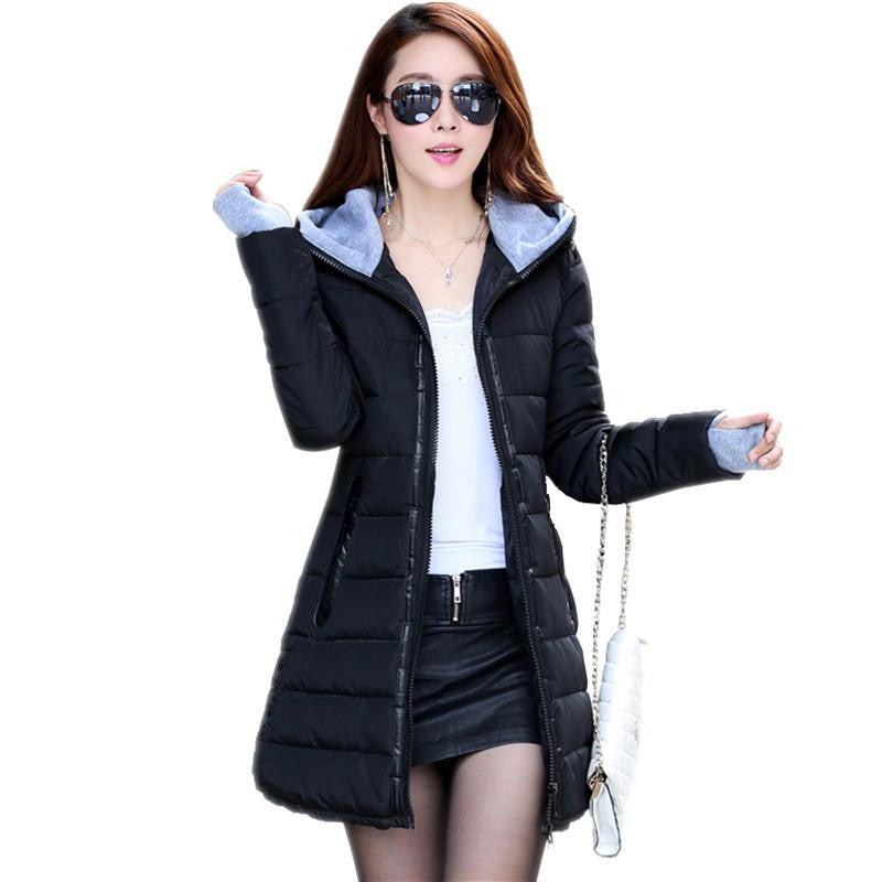 Womens Jackets New Medium-Long Down Cotton Parka Plus Size Jacket Coat Slim Ladies Casual Clothing Navy and BlackLong Parkas BlackXSa