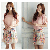 Fashion Women Floral Chiffon Bat Sleeve Casual Dress Pink and White