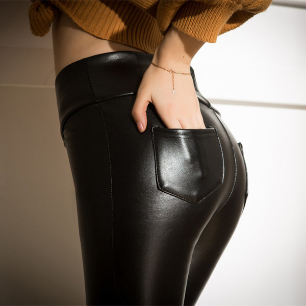 New Soft Cashmere Warm PU Leather Pants Back Pocket Elastic Slim Skinny Leather Leggings High Waist Trousers Women