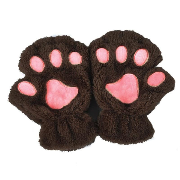 Women Cute Cat Paw Claw Plush Short Fingerless Finger Half Gloves-J117
