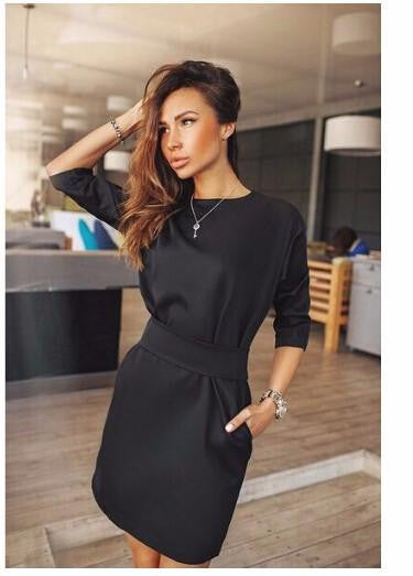 women fall fashion casual mini dress broadcloth solid color short sleeve o-neck women dress two side pocket black dresses