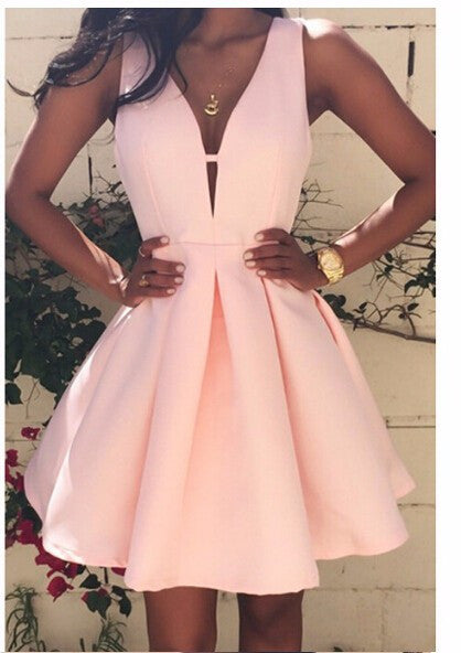 new fashion women sexy deep V-neck backless dress casual slim tunic sleeveless mini pink party dresses plus size