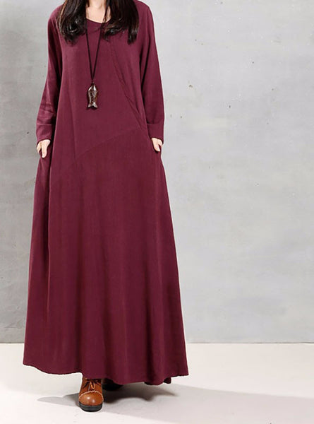 Online discount shop Australia - Autumn Women Retro Long Dress O Neck Long Sleeve Pockets Casual Loose Solid Ankle Length Dress