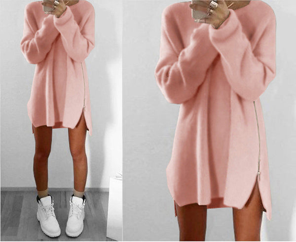 Online discount shop Australia - Dress Casual Sexy Loose Blue Beige Pink Dress Plus Size Zipper Sweater Dress Women Dresses Vestidos