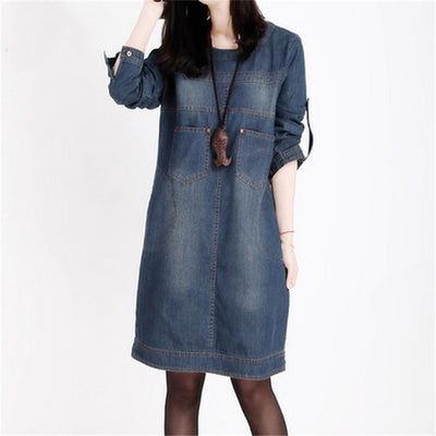 Online discount shop Australia - Denim Dress Long Sleeve Jean Dresses For Women Loose Plus Size T Shirt Dress Jeans Dress