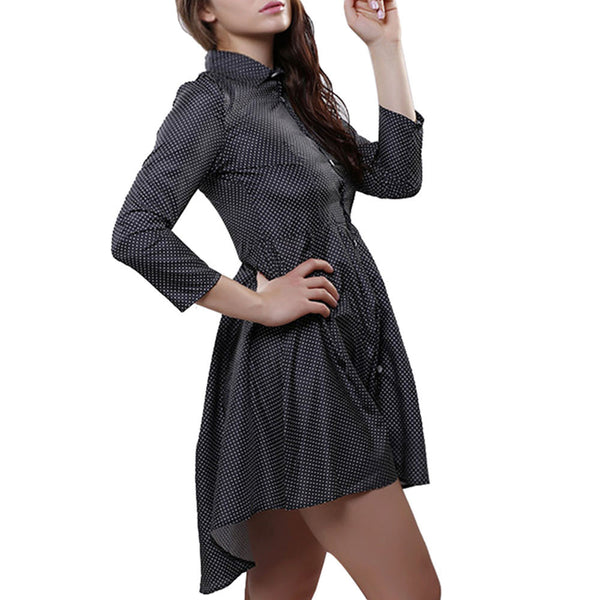 Online discount shop Australia - Foonee New Autumn preppy style Women office Shirt Dress Small Dots Printed sexy Irregular Long Sleeve Mini Vestidos Dresses