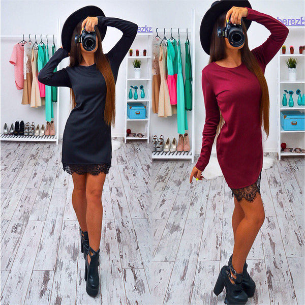 Online discount shop Australia - autumn summer lace women dress fashion long sleeve black red elegant dress casually Bodycon vestidos plus size
