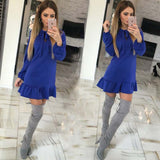 Online discount shop Australia - 4 Color Autumn And Winter 100% Cotton Solid Women'S Dress Sexy Slim Long Sleeve Casual Autumn Dress Fashion Joker Pleated Dress