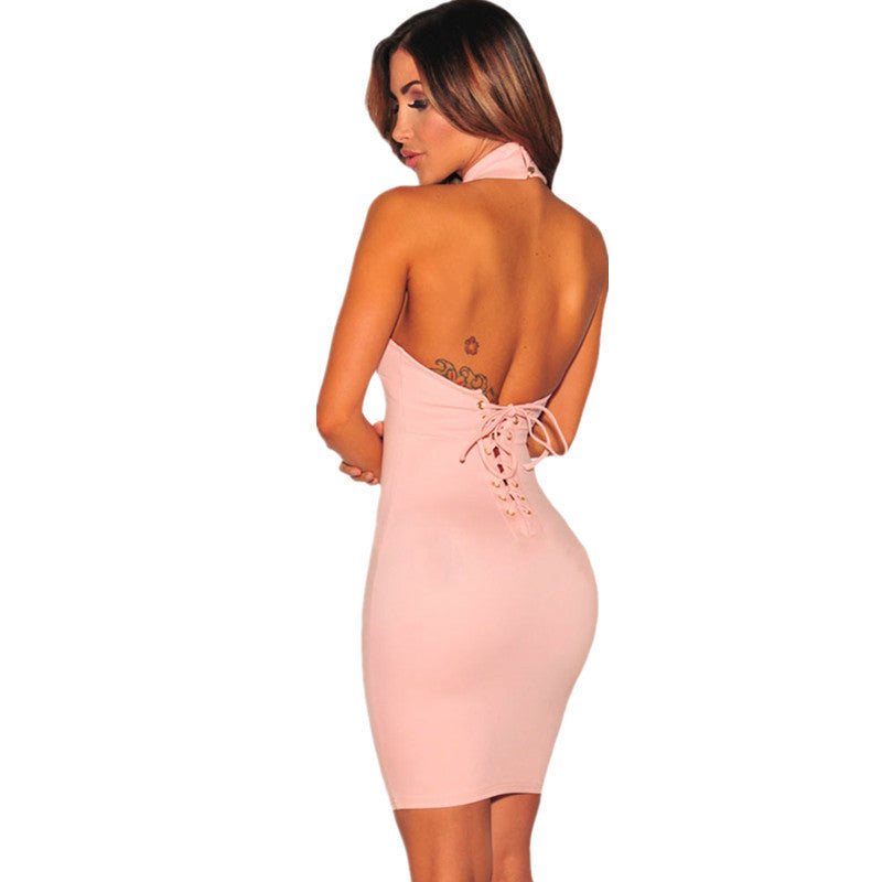 ORCFLY Autumn Summer Off Shoulder Dresses Robe Moulante Womens Pink Black Lace up Back Halter Backless Short Dress 22713PinkLa