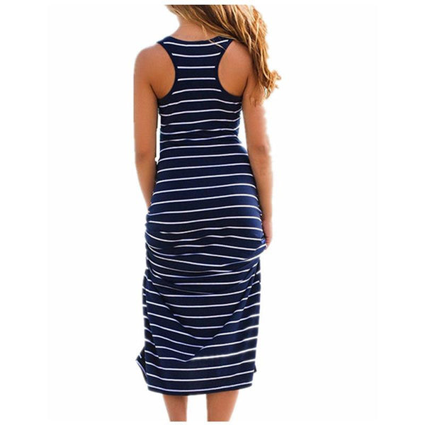 Plus Size Women Maxi Long Dress Summer Style Ladies Beach Vest Dress Striped Boho Long Sleeveless Casual Vestidos M0095