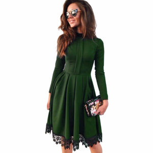 Online discount shop Australia - Autumn Winter New Fashion Women Sexy Long Sleeve Slim KNEE-LENGTH Dresses Green Party Dresses Plus Size