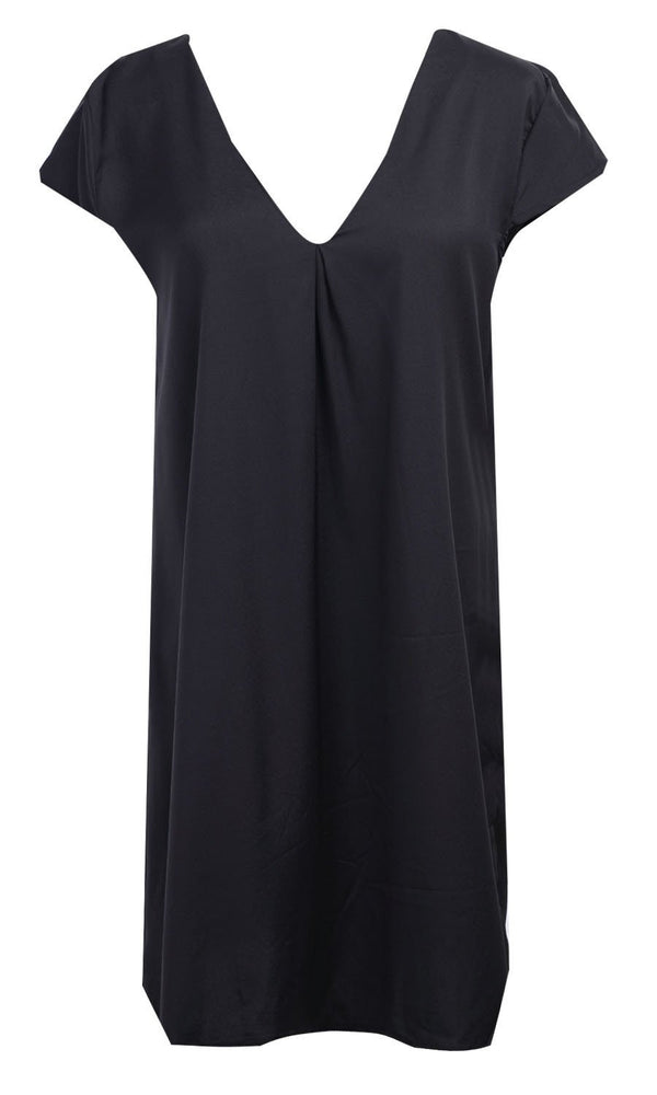 ee709d3c143 Sexy Women Summer Deep V-Neck Dresses Casual Plus Size Short Mini Black  Dress New