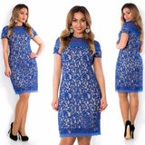 sexy women lace elegant blue party bodycon mini dress casual hollow out short sleeve