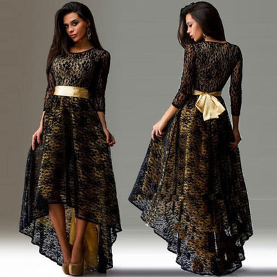 Selling High Quality Women Dresses Summer O-neck 3/4 Sleeve Slim Sexy Asymmetry Swallowtail Lace Party Dress Vestidos