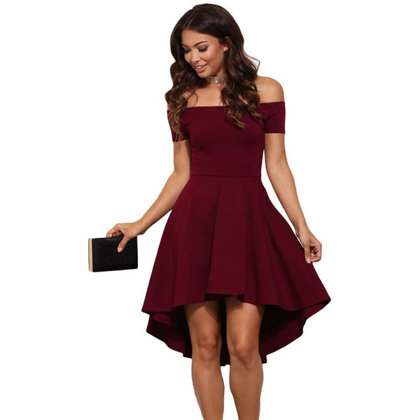 Online discount shop Australia - Dear lover Elegant Party Dresses 2017 Burgundy All The Rage Slash Neck Off Shoulder Skater Dress Formal High Low Dresses LC61346
