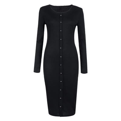 Online discount shop Australia - Fashion Casual Solid Women Button Long Sleeve Knit BodyCon Sweater Dress Autumn Winter New Lady Slim Long Dress