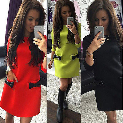 NEW Fashion Arrivals Women Long Sleeve Tunic Sweatshirt Tops Bodycon Pullover Mini Dress Jumper DressRedLa