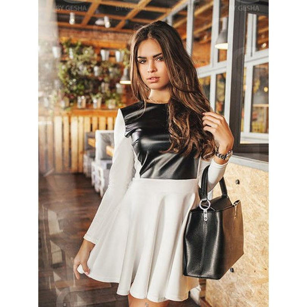 Women Dress Long Sleeve Dress Autumn Winter Women Casual Patchwork Dress with PU A-line dress