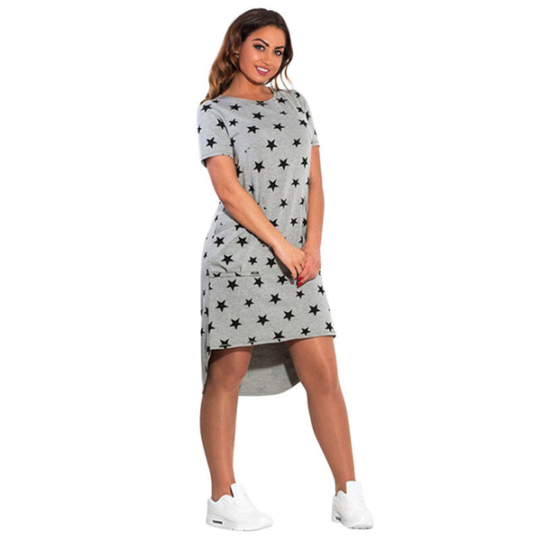 Online discount shop Australia - Fashion Print Star summer women dresses plus size women clothing Short Sleeve Knee-Length dress casual o-neck loose dress