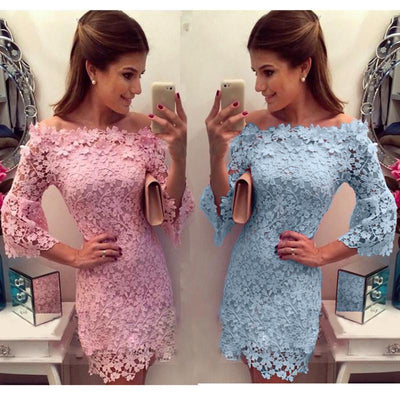 Women dress Sexy Slash neck Lace Crochet Hollow Slim Summer Dress 8707