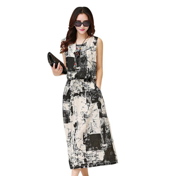 Summer Women Vintage Floral Dress Maxi Dress Sleeveless Blue+Black Long Vestido