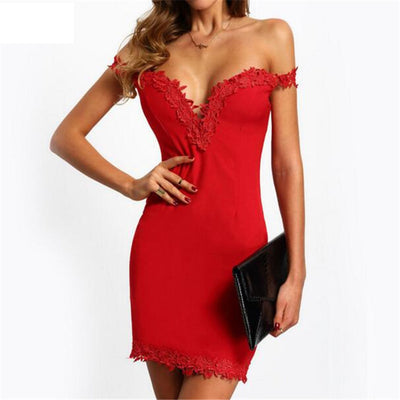 Online discount shop Australia - Elegant Summer Women Dresses Party Club Sexy Elegant Off Shoulder Black Red backless sexy dress Slim Tight Bodycon Dress