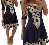 Womens Evening Party Dresses V Collar Half Sleeve Sexy Casual Woman Lace Dress