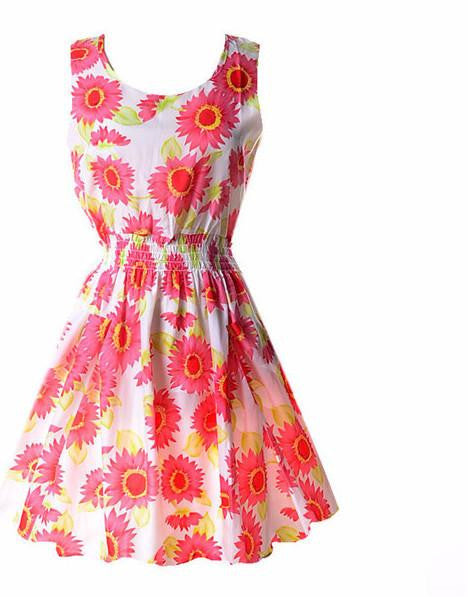 Summer Fashion Women Sexy Chiffon Sleeveless Sundress Beach Floral Tank Mini DressesA11XLa