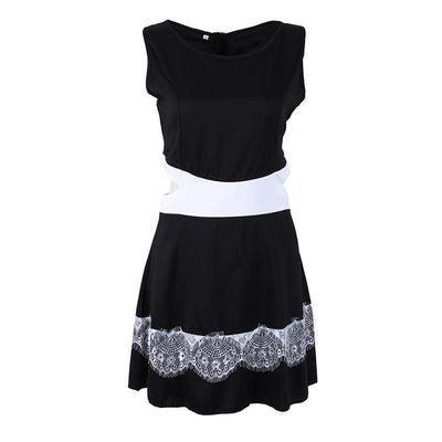 Women Sleeveless Hollow-out Lace Bodycon Club Party Sundress Mini Dress B4