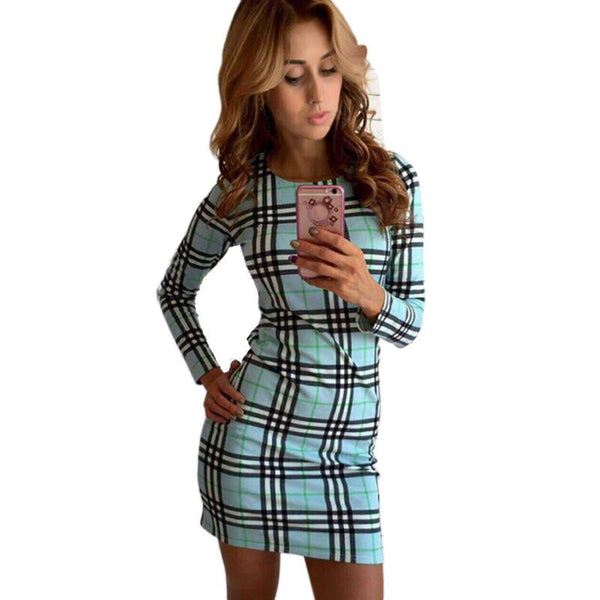 Online discount shop Australia - Brief Fashion OL Slim Dress Autumn Plaid Sexy Dress Street Wear Elegant Women Dresses Vestidos
