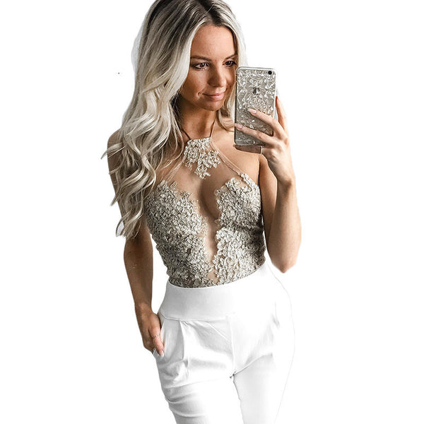 Online discount shop Australia - Elegant White Lace Crop Top   Beach Backless Short Halter Tops Sexy Camis Gauze Metallic Women  Cropped